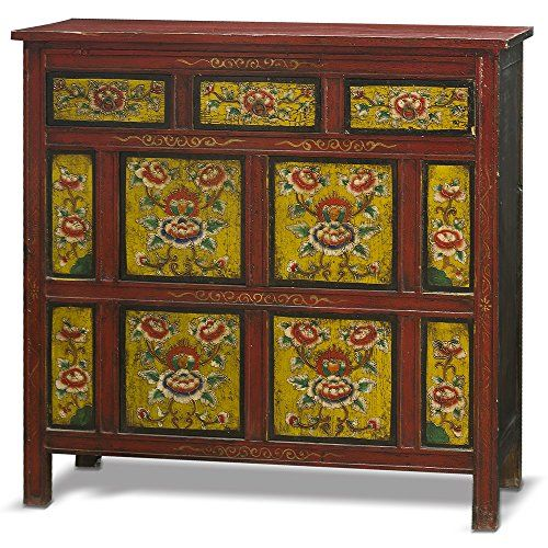 China Furniture Online Elmwood Cabinet, Hand Painted Floral Motif Tibetan  Style High Chest Distressed Red