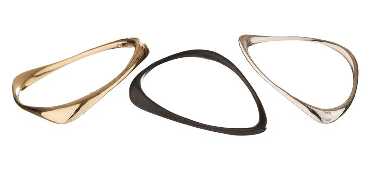 #huffyjewels #triangle #bracelets in #bronze, #black #plated #silver and #polished #silver - #Fluidity #Collection  www.huffyjewels.com