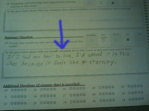 Writing this on my next class evaluation