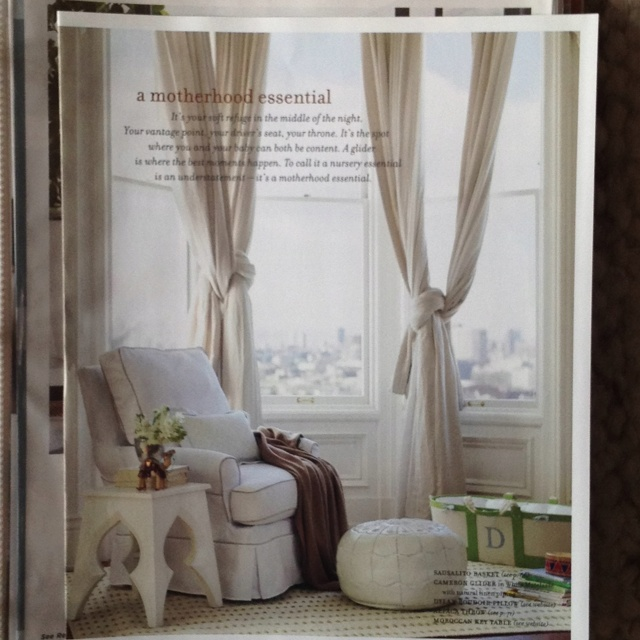 love the knotted curtains the side table and the leather pouf