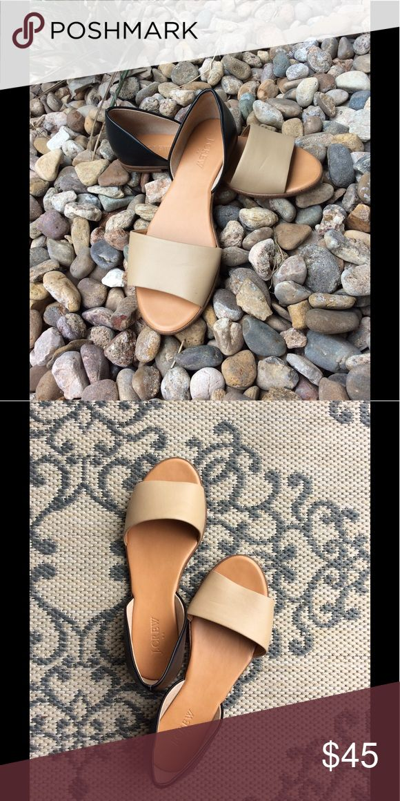 Tan and Navy Heeled Sandals Never been worn! J Crew Shoes Sandals