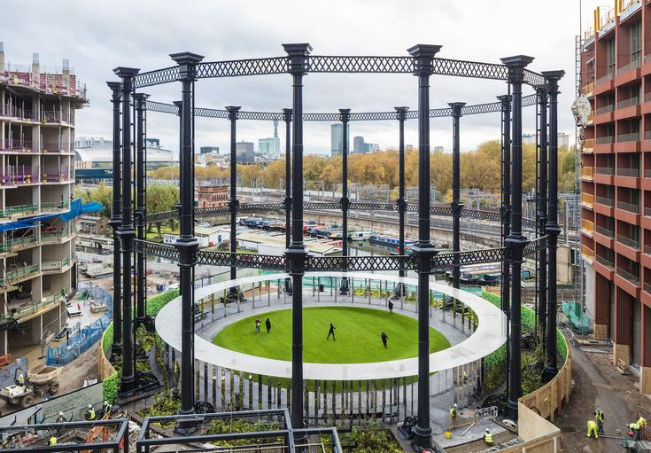 Giant gasholder is reborn as a stunning circular park in London