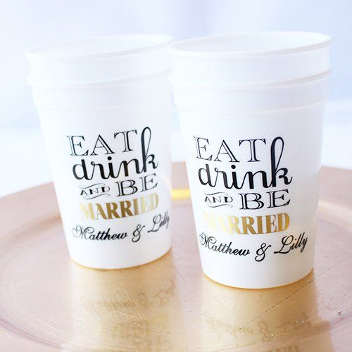 Eat, Drink, Be Married Personalized Stadium Cups
