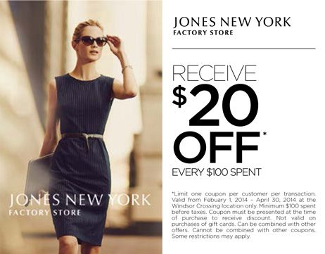 Receive $20 off every $100 spent. Offer valid only at Windsor Crossing from February 1, 2014 to April 30, 2014.
