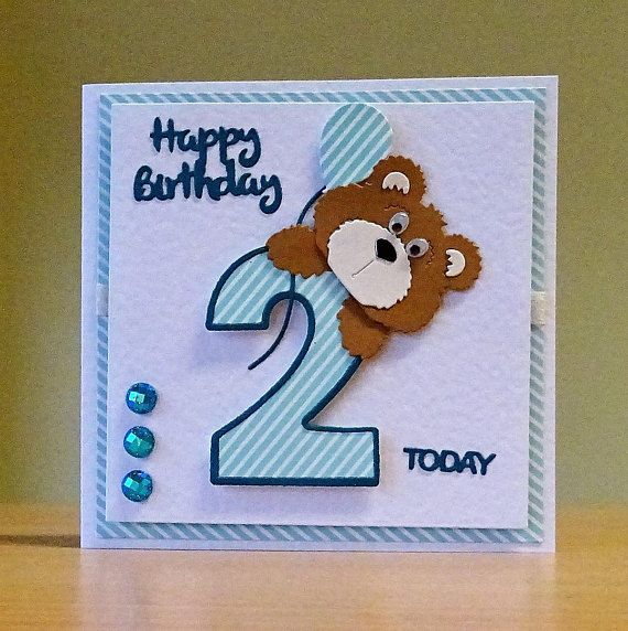 A Lovely Second Birthday Card Handmade In Wakefield West Yorkshire It Is Available In The Following Col Handmade Birthday Cards Kids Cards Baby Birthday Card