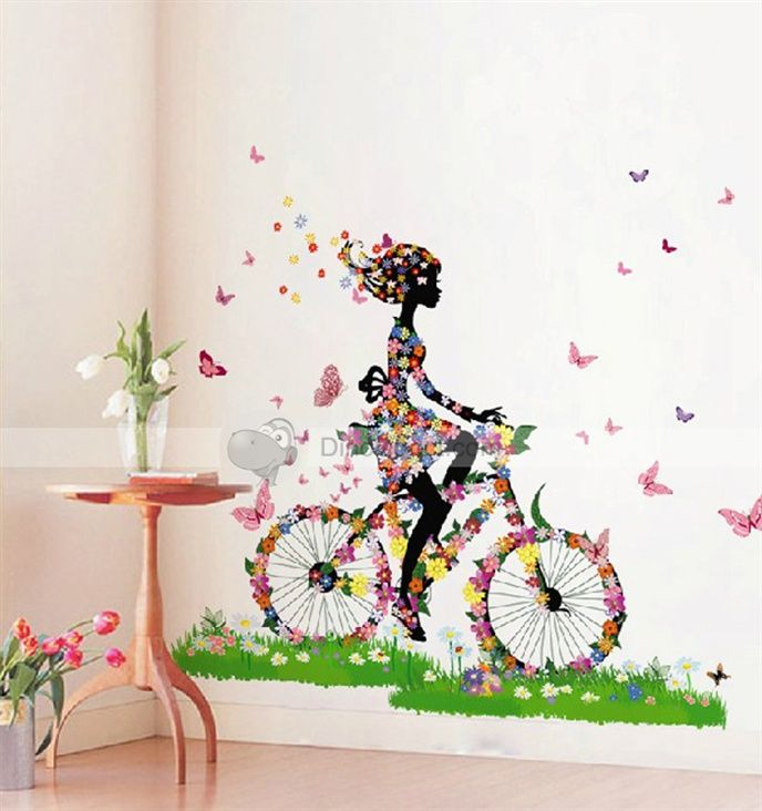 Large Countryside Style Flower Bike Girl Butterfly Home