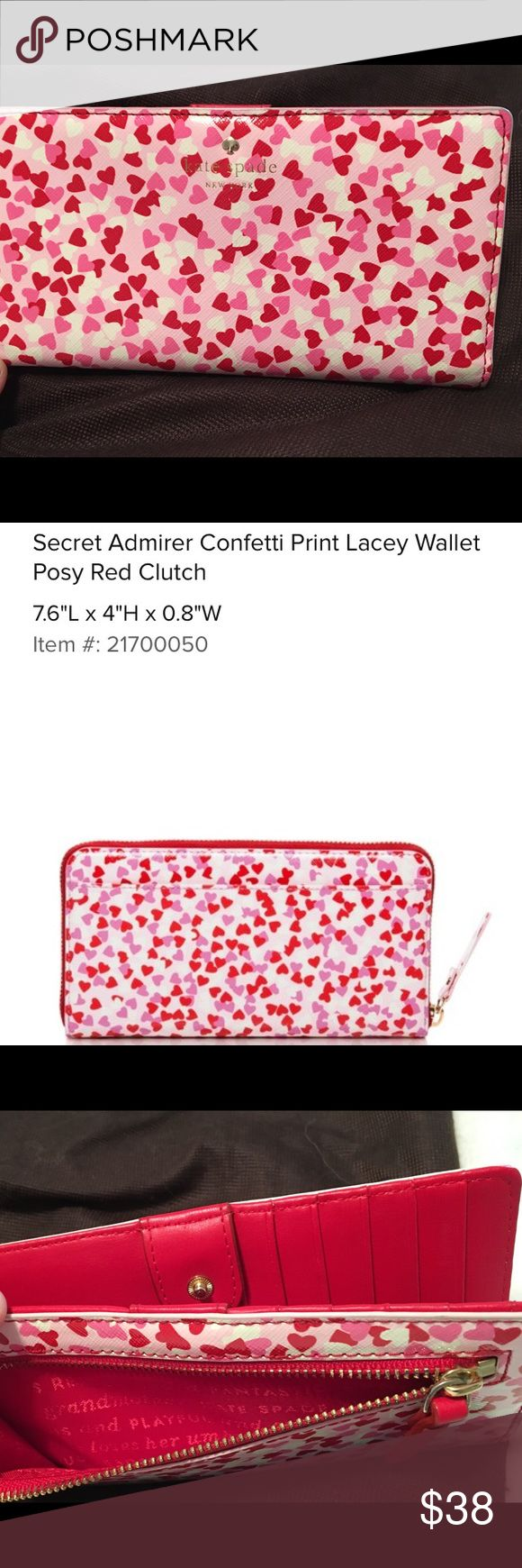 NWOT Kate Spade Secret Admirer Wallet Perfectly sweet for your sweetheart. Show her how much you love her with this beautiful wallet. Comes with dustbag. White red and pink. kate spade Bags Wallets