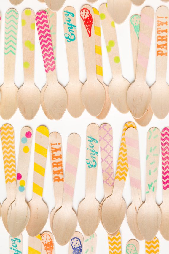 20 Wooden Ice Cream Spoons -Variety Pack - Great Alternative To Plastic Utensils