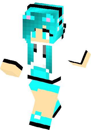 minecraft skins for girls | Turquoise Fox Girl Skin