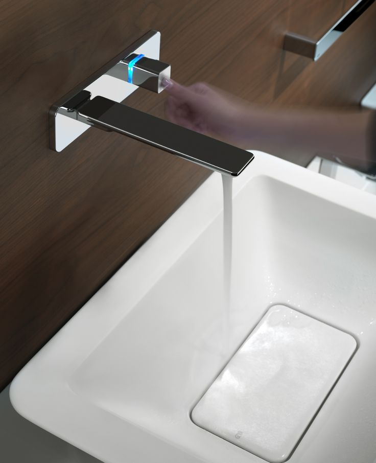Gessi iSpa Pulse - touch activated faucet. Blu light communicates cold water