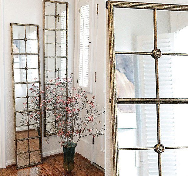 Gold Framed Window Pane Mirror Narrow Farmhouse Mirror Long