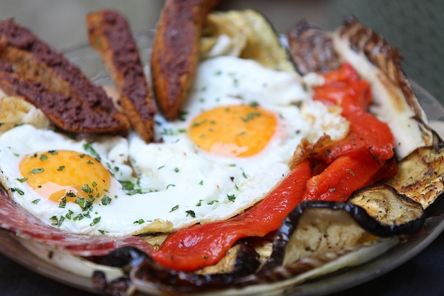 Rebecca's Plate: a special treat from our Kitchen. 2 organic eggs, seasonal roasted vegetables, bread crostini, olive paste and salami