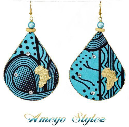 SeaDropz   African Fabric Earrings by AmeyoStylez on Etsy, $30.00
