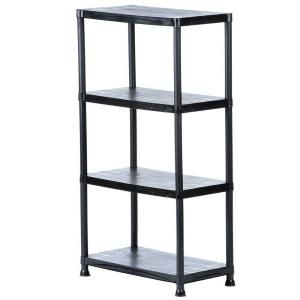 HDX 4-Shelf 15 in. D x 28 in. W x 52 in. H Black Plastic Storage Shelving Unit 17307263B at The Home Depot - Mobile