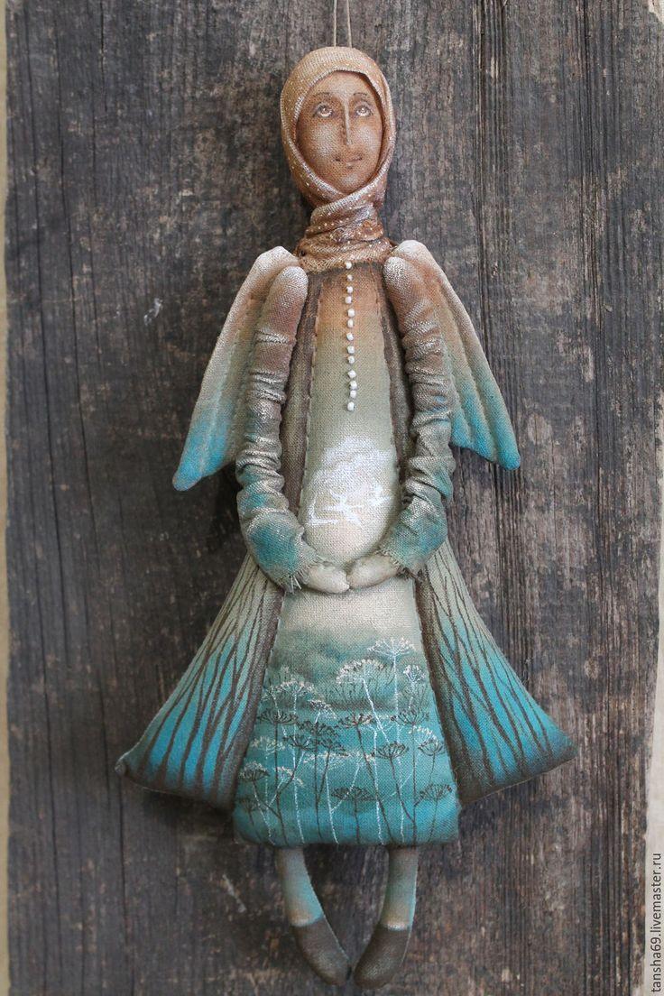 Купить Тишина...Ангел - комбинированный, текстильная кукла, ароматизированная кукла, интерьерная кукла, ангел, ткань