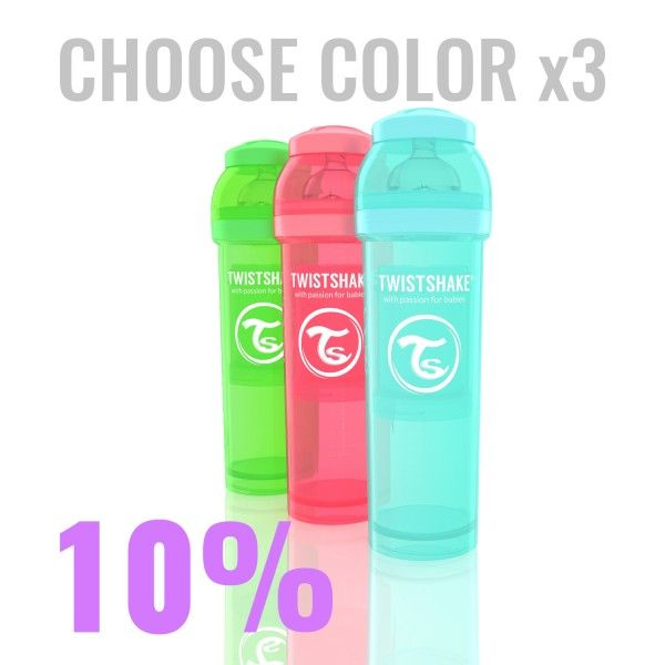 26.73€ Multipack with 3x 330ml/11oz Twistshake bottles in color of your choice.