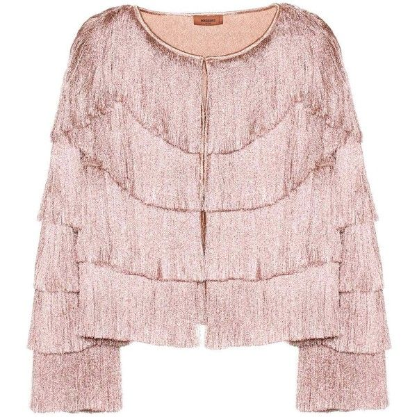 Missoni Fringed Jacket ($1,700) ❤ liked on Polyvore featuring outerwear, jackets, blazers, pink, fringe jacket, missoni blazer, pink blazer jacket, missoni jacket and pink fringe jacket