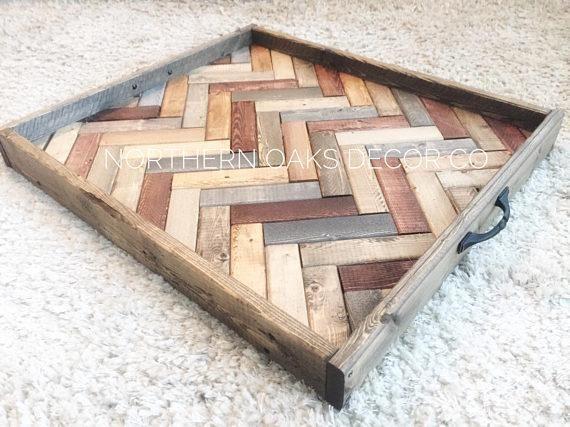 Herringbone serving tray, large ottoman tray