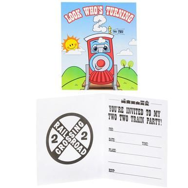Two-Two Train 2nd Birthday Invitations (8 ct)