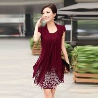 Wish | Fashion clothes women 2013 summer women plus size xxxxl skirt female short-sleeve chiffon one-piece dress female