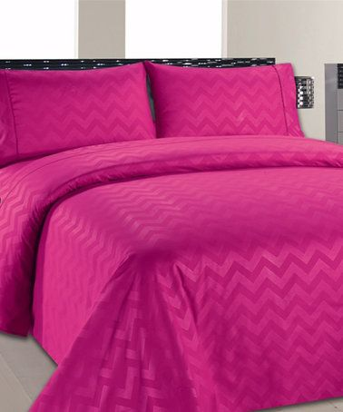 Another great find on #zulily! Hot Pink Chevron Sheet Set #zulilyfinds