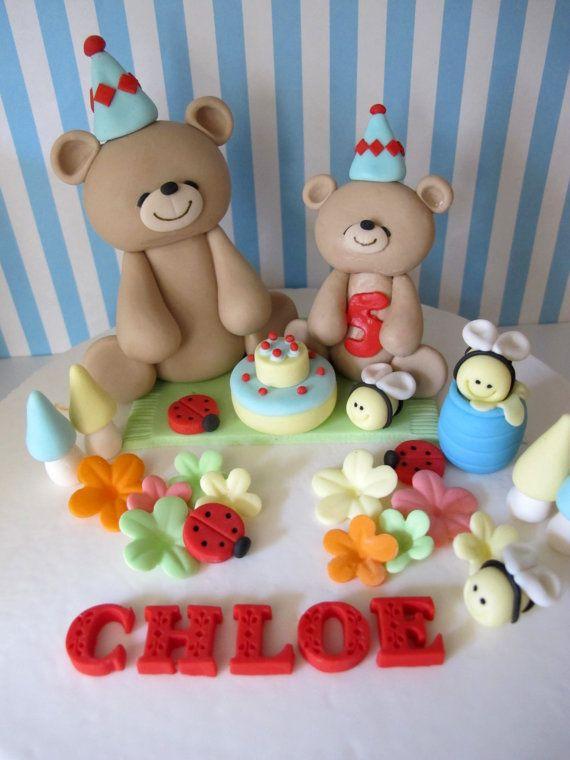 Teddy Bear Picnic Theme Fondant Cake Topper - Handmade Edible Cake Topper - 1 Set via Etsy