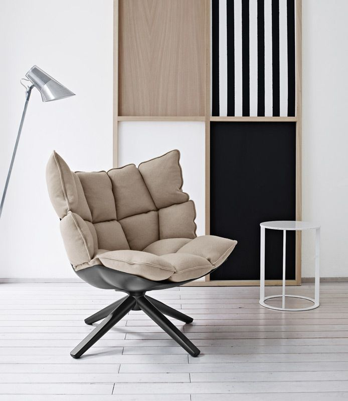 Order now online: swivel armchair Husk by B&B Italia. Elegant, very modern chair with a particularly generous, very soft padding. Design Patricia Urquiola.