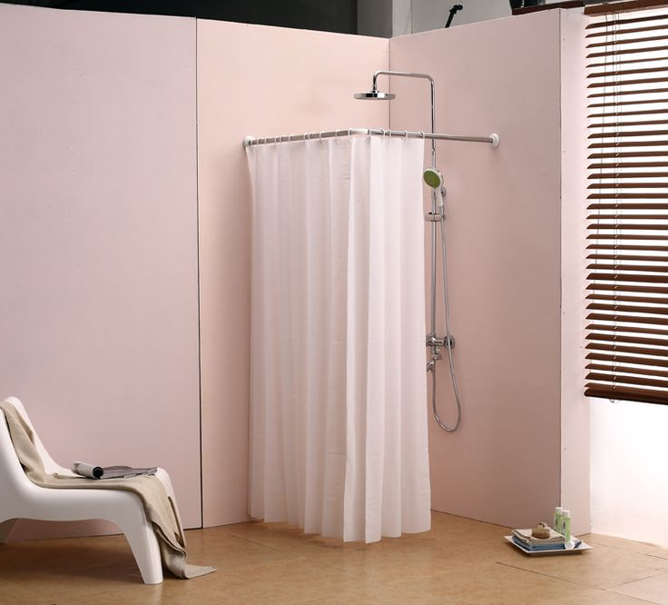 L Bathroom Curtain Cloth Hanging Rod Corner Shower Curtain Rod Right Angle  Adjustable Length Fitted Waterproof