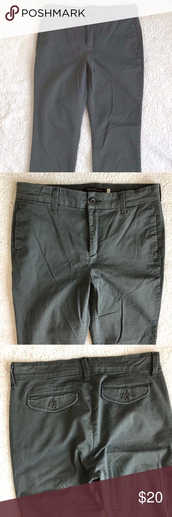 """NYDJ Chino Women's Pants Size 6 NYDJ Not your Daughters Jeans Chino Women's Pants Size 6 Tech Green Straight Leg Lift / Tuck. Back Pockets. Side Pockets. No Rips, Stains or holes. Smoke Free Home. Fabric: 97% Cotton / 3% Spandex Approximate measurements:  Rise: 10"""" inches  Inseam: 30.5"""" inches Waist: 30"""" inches NYDJ Pants"""