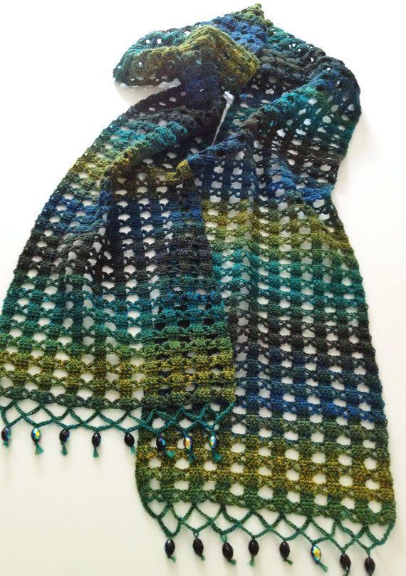 Green beaded crochet echarpe by GabyCrochetCrafts on Etsy