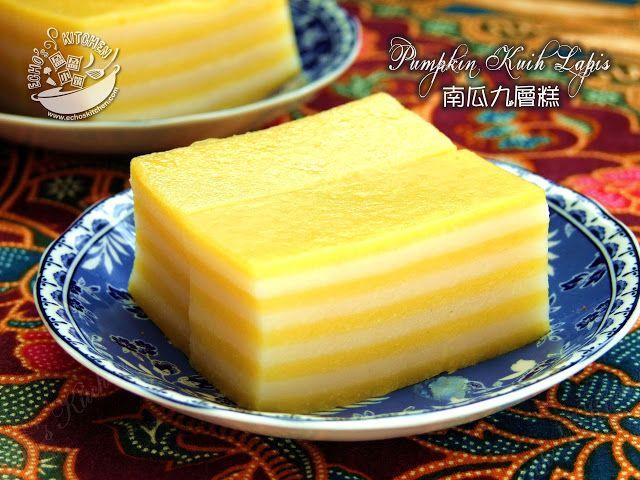 A taste of memories -- Echo's Kitchen: Pumpkin Kuih Lapis 南瓜九层糕