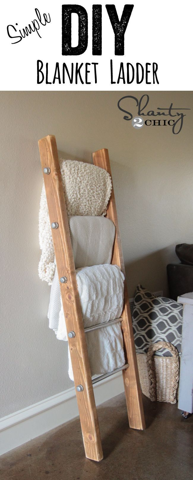 DIY Wood and Metal Pipe Blanket Ladder… Seriously SO simple and so cute! www.shanty-2-chic.com Bedroom ideas #decor #design