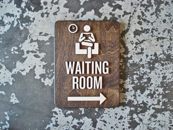 Waiting Room Office Sign - With or Without Arrow - 9 x 12 Size - Patient Area - Modern Reception Signage - Business Way Finding Decor  This listing is