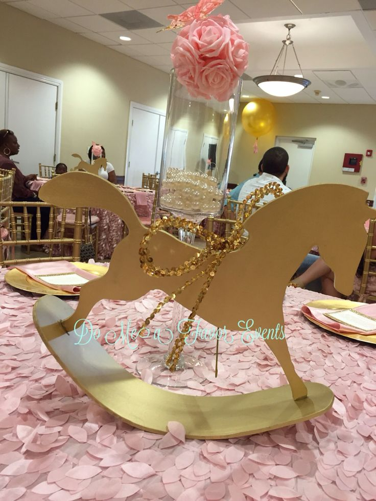 Gold rocking horse centerpiece blush and baby