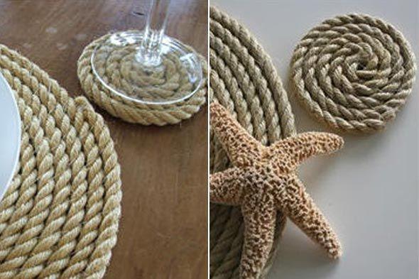 rope coasters: Decor, Beach House, Crafty, Nautical Coaster, Rope Coasters, Ropes, Craft Ideas, Coaster Diy