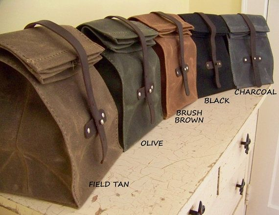 Lunch Bag / Waxed Canvas / Made to Order by TwoOaksTrading on Etsy