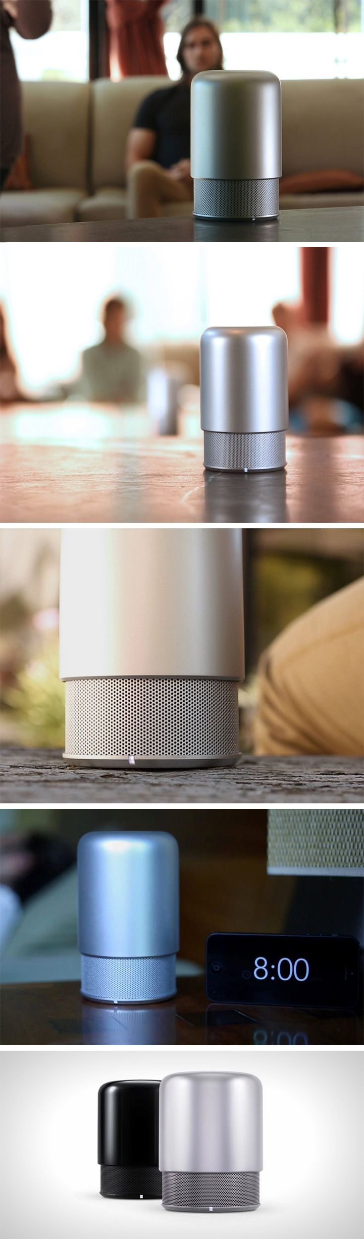 Designed with virtually no buttons (or any visible speaker at first), the HiddenRadio2 looks like a metal version of the Pokemon Diglett. To power it on, just place your finger on the capacitive touch enabled top and the metal housing dramatically lifts upwards to reveal a tiny yet versatile and powerful 360° speaker below. Buy Now!
