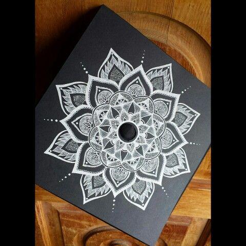 Decorated my graduation cap #mandala #blackandwhite #flower #art