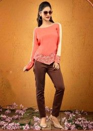 Casual Wear  Crepe Peach Embroidered Work Top