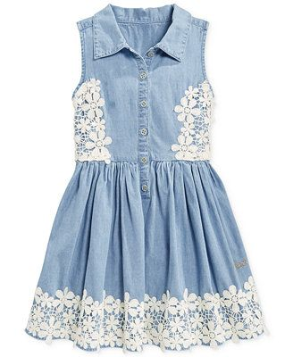 GUESS Little Girl's Lace-Trim Chambray Dress