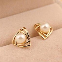 Cute Triangle Pearl Earring Studs