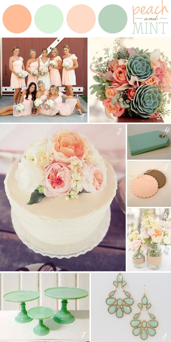 I love this Peach & Mint Wedding Color Palette. The Peach and Coral shades are almost a little dusty. Looks really cool