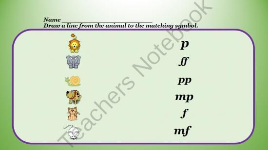 Animal Dynamics Music Lesson from Sandra Hendrickson Educational Music on TeachersNotebook.com -  (34 pages)  - Animal Dynamics Music Lesson includes Lesson plan, slide show teaching dynamic symbols, printable worksheet and a game.