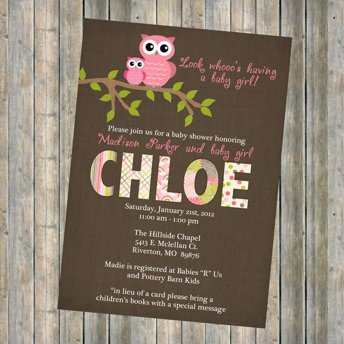 baby girl shower invitations, baby shower invitation with owls, Digital, Printable file brown and pink. $13.00, via Etsy.