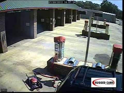 Gasoline + Car Wash Vacuum = Drama A customer had a lawn mower in the back of his SUV and it leaked gas.  So what do you do?  Run to the local car wash of course and suck it up in the self serve vacuum.  Yeah...not really a great idea! www.ruggedcams.com