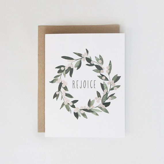 Rejoice Mistletoe Wreath Card  1pc van KelliMurrayArt op Etsy