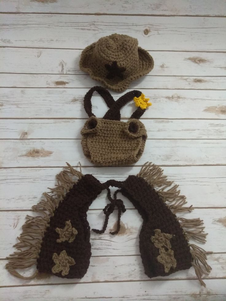 Infant baby cowboy photo prop/ Rodeo Sheriff chapps hat set by JennysTreasure4U on Etsy