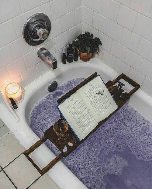 Lavender bath, candles, & a good read
