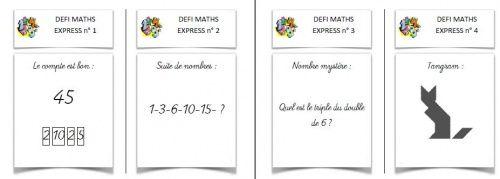 Rituel de maths: défi maths express (Le compte est bon - Tangram - suite numérique - nombre mystère). 3-4-5-6