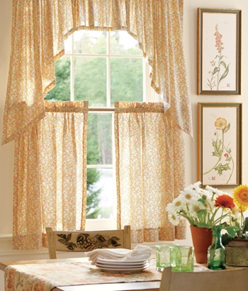 Country Calico Tier Curtains For The Kitchen